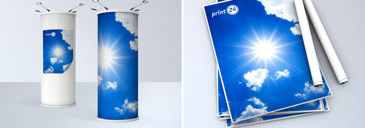Blue back posters for advertisement column, printed with your message - Online-printer print24