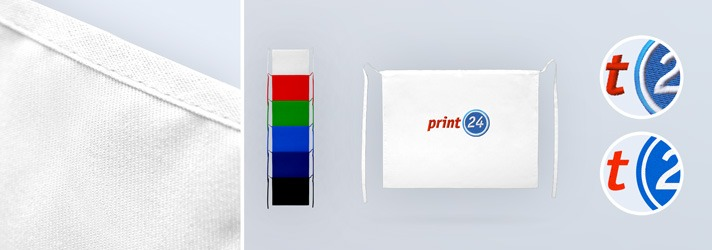 Bistro aprons in different colours with individual embroidery or transfer printing