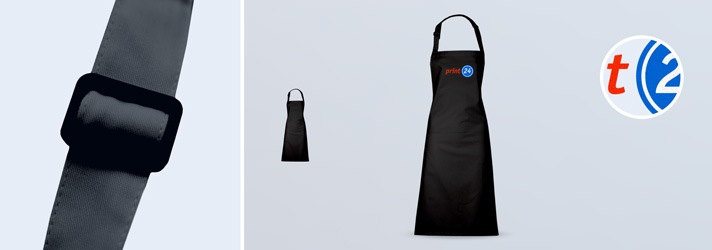 Tablier de barbecue noir avec sangle de cou réglable sur print24