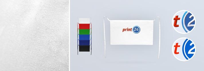 Ordina grembiuli senza pettorina, stampati o ricamati in colori diversi