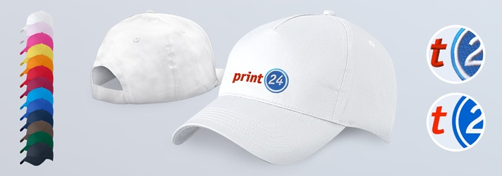 Order cotton basecaps - personalised caps with print or embroidery from print24
