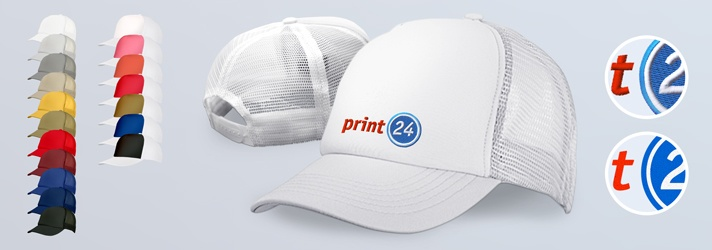 Baseball caps in the mesh cap version - cheap printing at print24