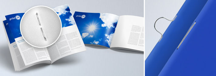 Günstig Zeitschriften drucken lassen - Mit Rückendrahtheftung oder Ösenheftung bei print24