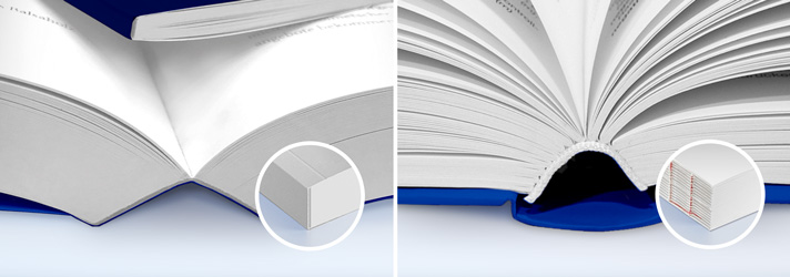 Comparison of perfect binding and sewn binding when printing books