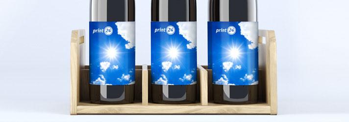Flaschenetiketten auf Rolle mit UV-beständigen Druckfarben - Online-Druckerei print24