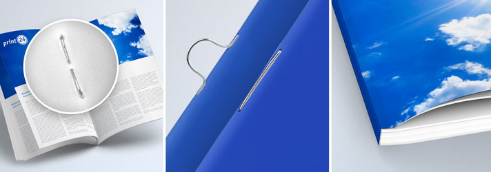 Broschüren drucken und binden lassen mit Klammerheftung oder Klebebindung bei print24