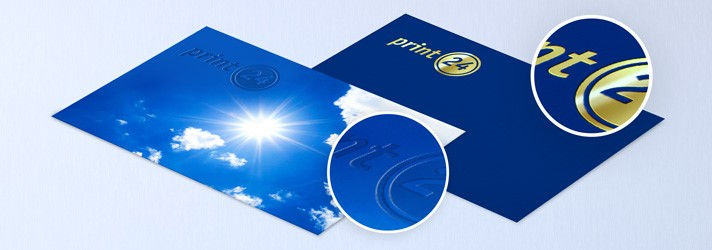 Exclusive refinements of business cards at print24 - blind embossing or hot foil embossing