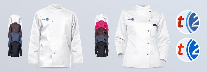 Premium cooking jackets for men and women in different colours - cheap printing and embroidery at Druckerei print24