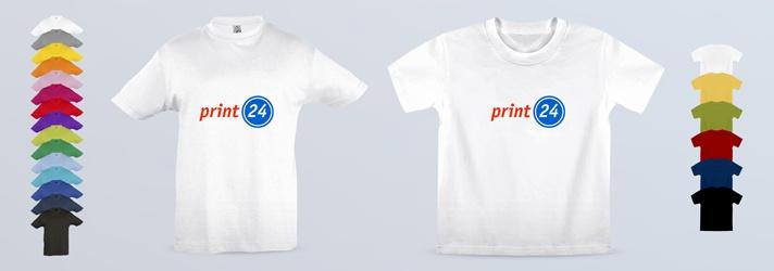 T-Shirts für Kinder in vielen verschiedenen Farben - Ausführungen Premium und Classic individuell bedrucken bei print24