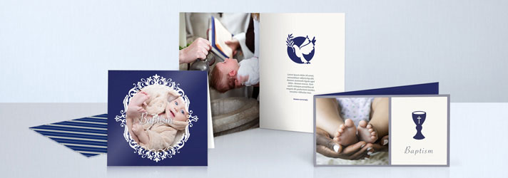 Self created christening cards printing in various formats - Online at print24
