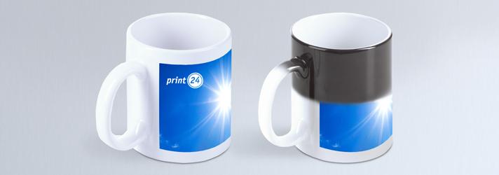 Fototassen bedrucken lassen auch Tassen mit Farbwechsel - Geschenkidee bei Online-Druckerei print24