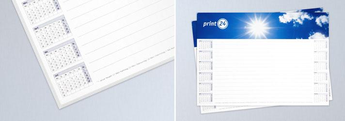 Selbst gestaltete Schreibtischunterlagen drucken lassen - Individuell mit Kalenderübersicht bei print24