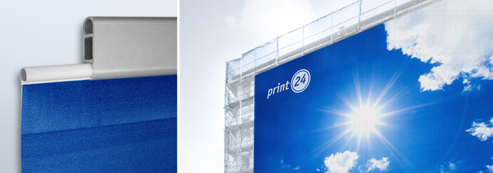 Print façade banners in different sizes inexpensively online