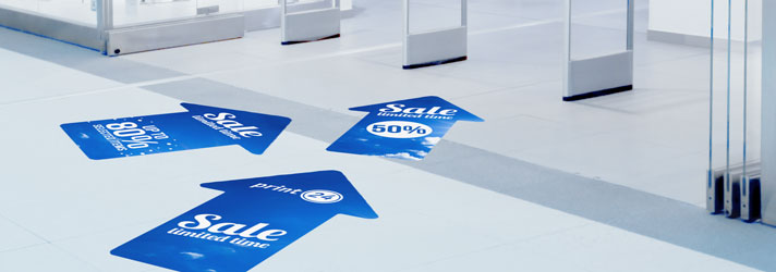 Floor stickers printing as direction signs on smooth floors - Online at print24