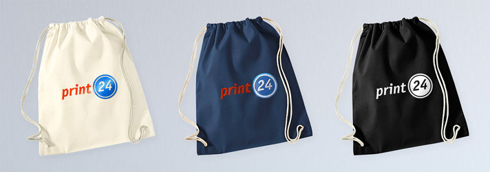 Hochwertige Turnbeutel aus 100% Baumwolle mit Kordelzug - Online-Druckerei print24