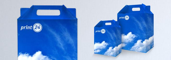 Faltschachteln mit Tragegriff bedrucken lassen - Online-Druckerei print24
