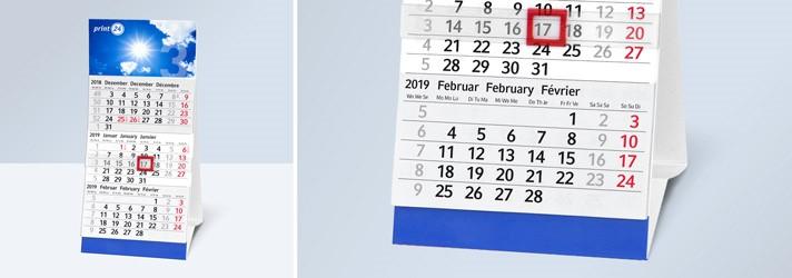 Tisch-Monatskalender mit Datumsschieber - Günstig bei Druckerei print24