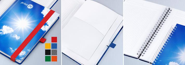 Verschiedene Ausstattungen beim Notizbuch - Inklusive bei print24