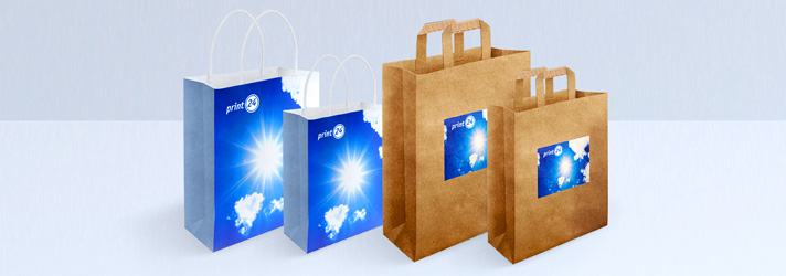 Order individually printed bags with flat handle and paper cords at low cost - print24 online printing