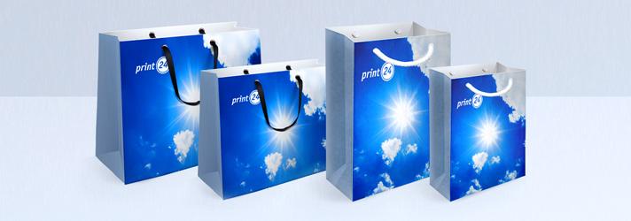 Shopper di carta con cordini di tessuto o nastri di raso - stampa online print24