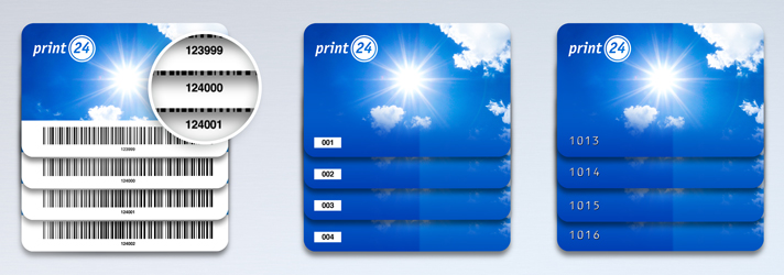 Have plastic cards printed and number them consecutively - print24 online printing company
