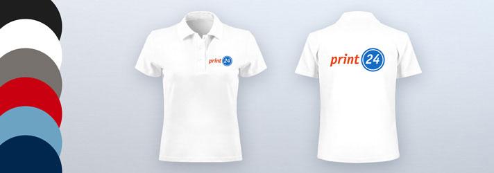 Damen-Poloshirts online erstellen und beidseitig bedrucken - Günstig bei Druckerei print24