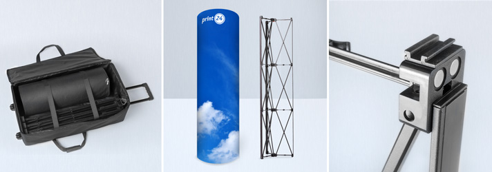 Pop-up tower printing for your fair trade booth - Online at print24