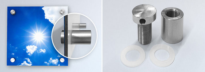 Stainless steel spacers for attaching business signs