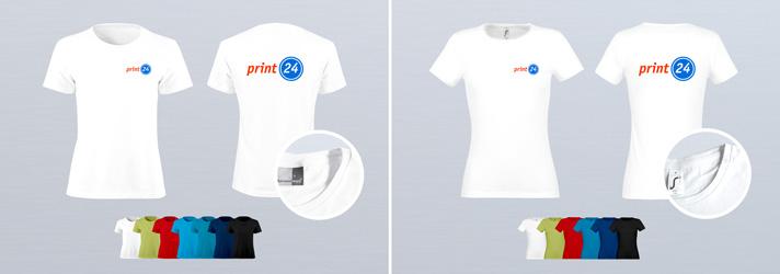 Damen-T-Shirts online erstellen mit Druck vorn und hinten - Bei Druckerei print24