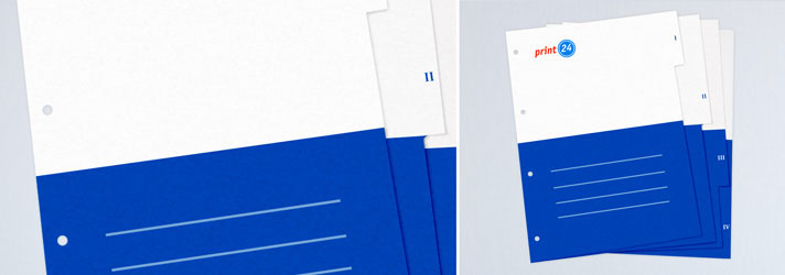 Impression de feuilles intercalaires et de classeurs - imprimerie en ligne print24.com