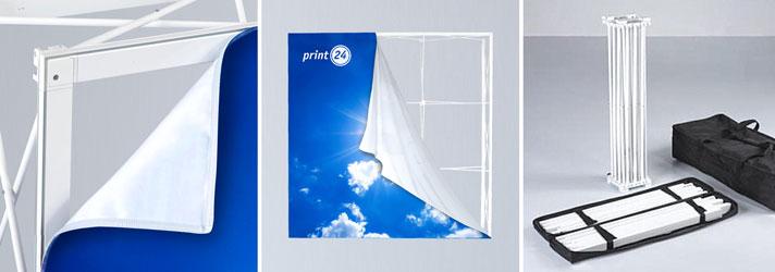 Gerade textile Messewand online erstellen - Beidseitiger Druck möglich bei print24