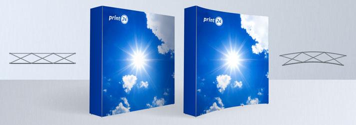 Mobile Messefaltwand kaufen - Mit Textildruck gerade oder gebogen - Online-Druckerei print24