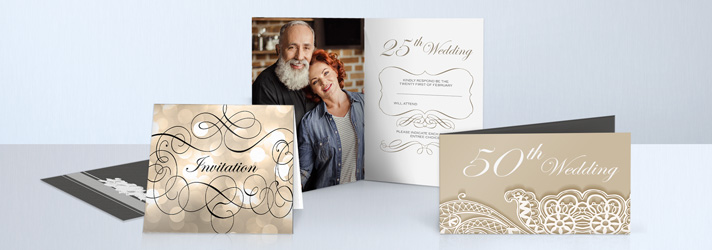 Wedding invitations for a gold- or silver wedding anniversary with refinements