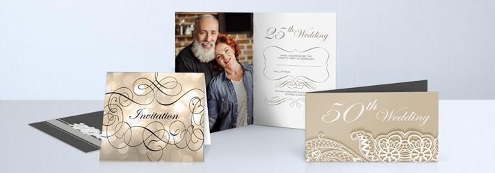 Biglietti per anniversario di matrimonio per nozze d'oro e d'argento con finiture