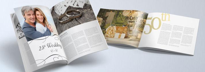 Stampa giornali di anniversario di matrimonio con rifiniture in oro e argento